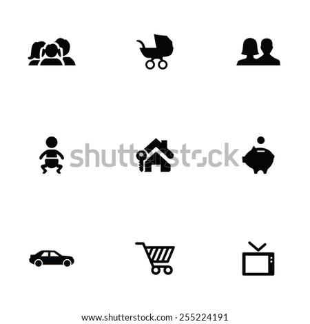 family 9 icons set, isolated, black on white background - stock photo