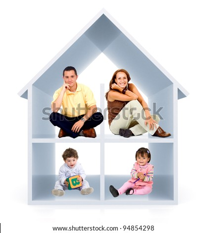 Family in a 3D home - isolated over a white background - stock photo