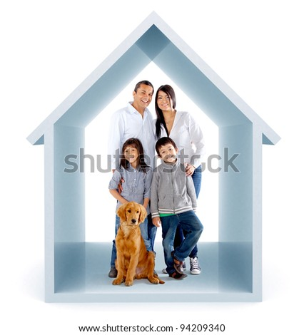 Family in a 3D house illustration - isolated over a white background - stock photo