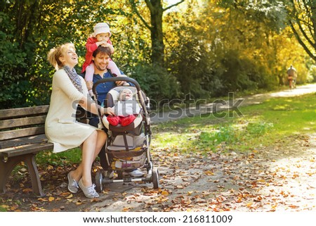 family in a park - stock photo