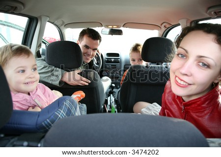 family in car 2 - stock photo