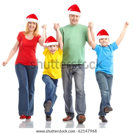 Family in Christmas hats. Over white background - stock photo