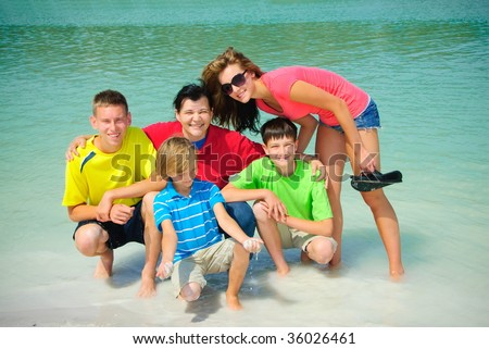 Family in lake