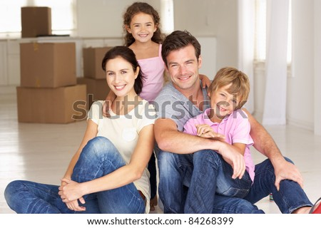 Family in new home - stock photo