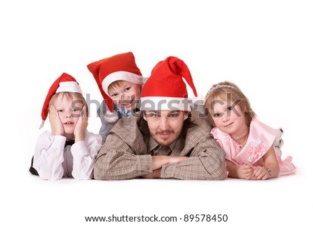 Family in Santa Claus hats