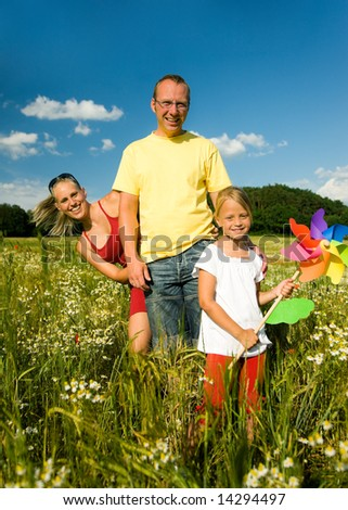 Family in the grass at a wonderful summer day - stock photo