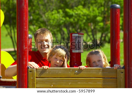Family in the park - stock photo