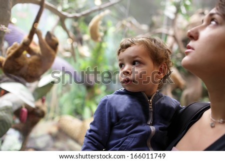 Family in zoological museum in Moscow, Russia - stock photo
