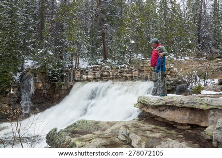 Family is about the second stage of Provo River Waterfall. Uinta-Wasatch-Cache National Forest, Utah - stock photo