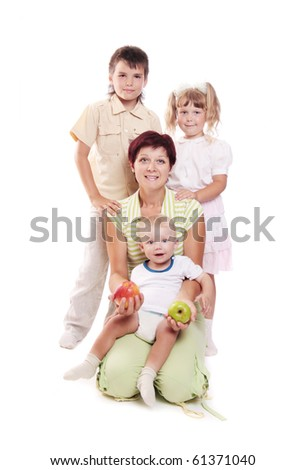 family isolated on white - stock photo
