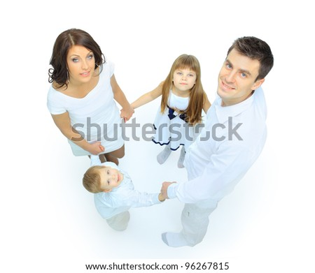 family isolsted on white background - stock photo