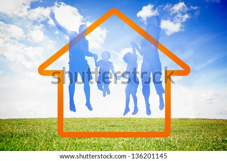 Family jumping in the air against sky background - stock photo