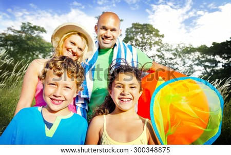 Family Kids Parents Playful Park Summer Concept