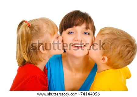 Family kiss - stock photo