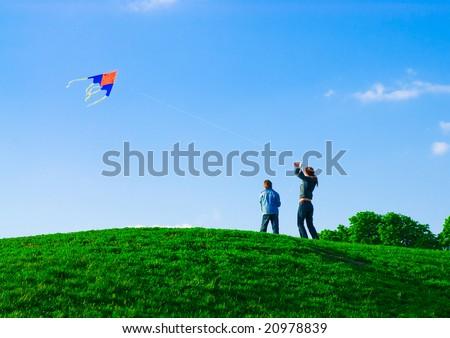 Family kite - stock photo