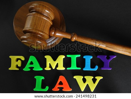 Family Law in play letters, with gavel                                - stock photo