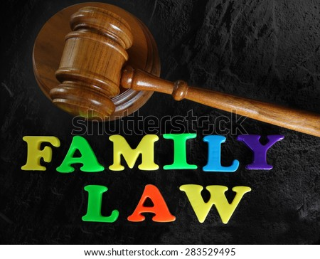 Family Law in play letters, with judges gavel                                - stock photo