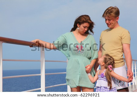 family leisure with children at sea on yacht - stock photo