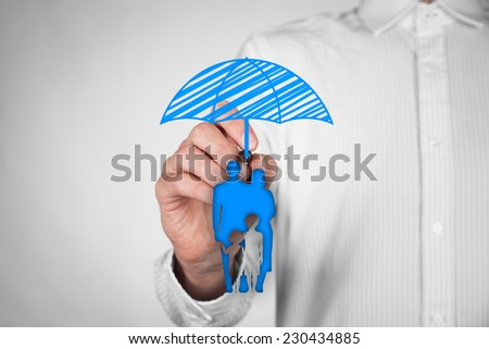 Family life insurance, family services and family policy concepts. Insurance agent draw umbrella (insurance symbol) above family icon. - stock photo
