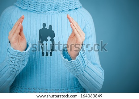Family life insurance, family services, protecting family, family policy and supporting families concepts. Woman with protective gesture and silhouette representing young family.  - stock photo