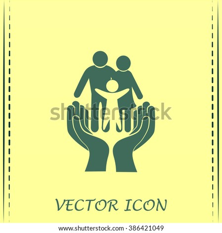 Family life insurance sign icon. Hands protect human. Vector - stock photo