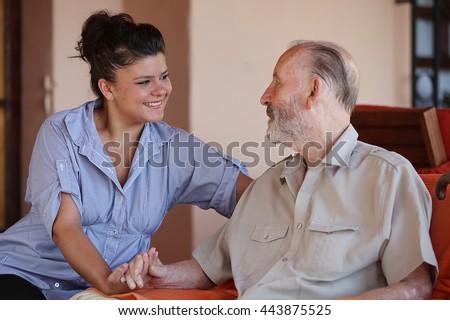 family  love grandparents and grandchildren or carer - stock photo