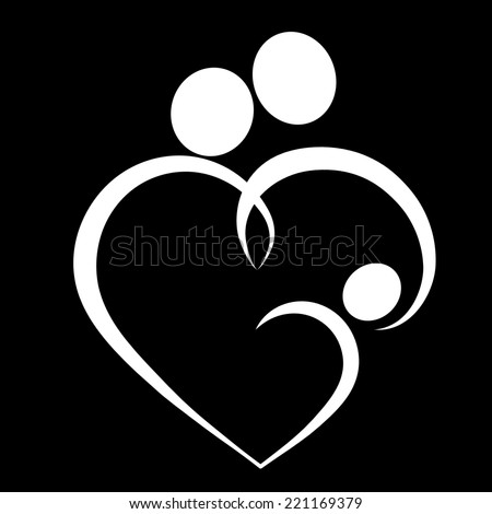 Family Love Heart Icon Parents Baby Stock Vector 141134560 ...