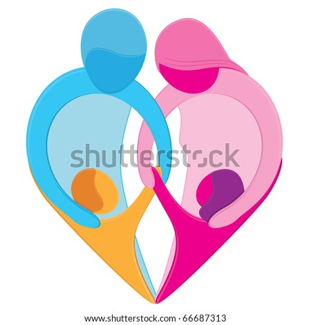 Family Love Heart Sign. Stylized figures of mother, father, son and daughter hold hands together forming a heart shape representing the unique bond, love and care that exists between family members - stock photo