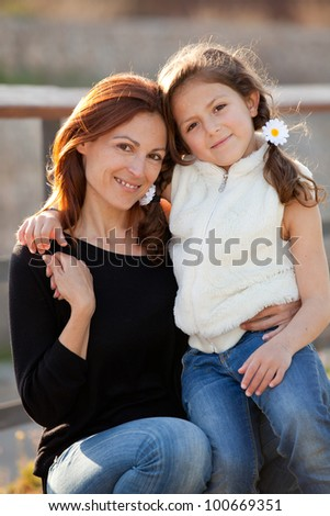 family love, mother and daughter - stock photo