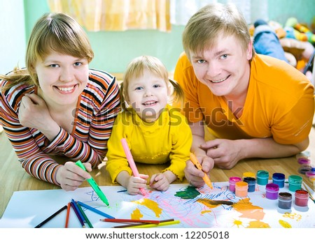 family mather father and child draw - stock photo