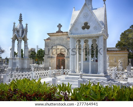 Family mausoleum in Cemetario Cristobal Colon (Christopher Columbus Cemetery), Havana, Cuba - stock photo