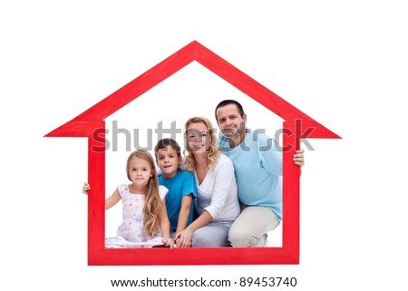 Family members in their home - real estate concept - stock photo
