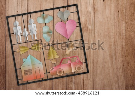 family model set with paper cut flat style on wooden plank background home sweet home concept