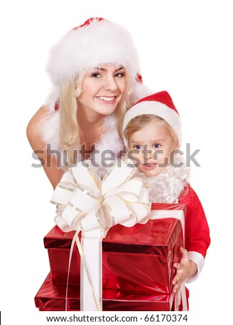Family mother and daughter in Santa Clause costume giving stack gift box. Isolated.
