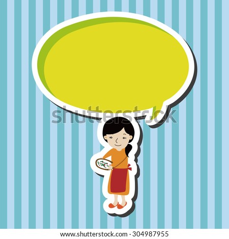 family mother character, cartoon speech icon