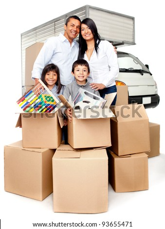 Family moving house needing the truck services to carry boxes - stock photo