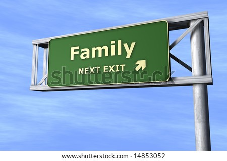 Family - Next exit - stock photo