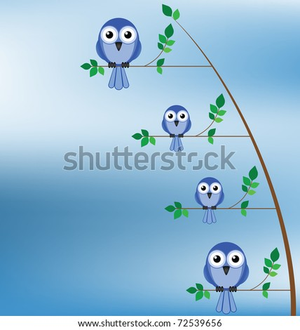 Family of birds sat in a tree against a blue sky