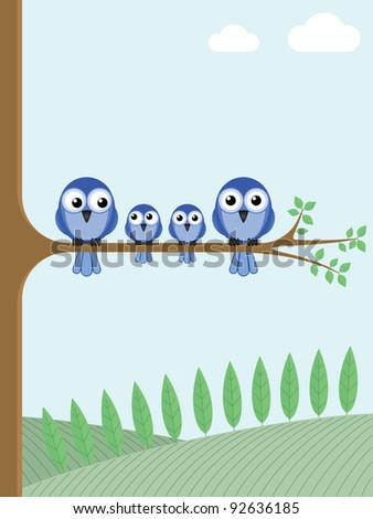 Family of blue birds sat on a tree branch