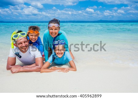 Family of divers  - stock photo