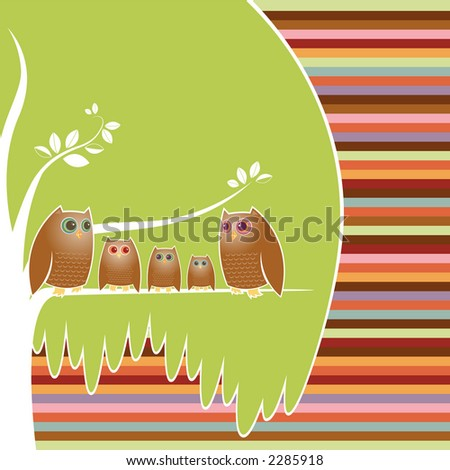 Family of five owls perched in their cozy tree, a colorful striped background - stock photo