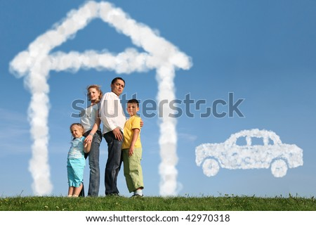 family of four dreams about house and car, collage - stock photo