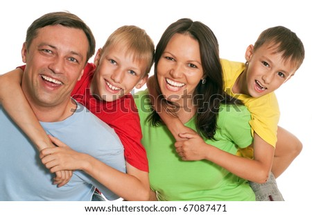 family of four on a light background - stock photo
