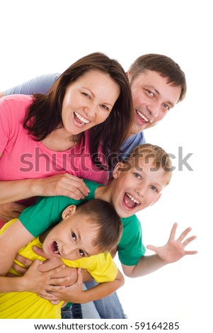 family of four on a white