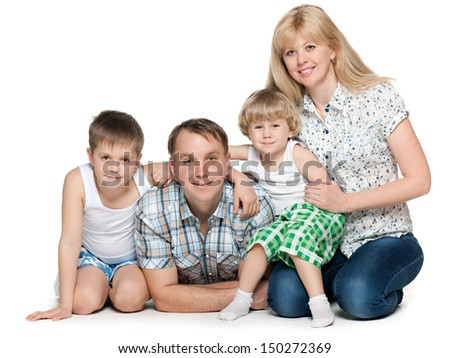 Family of four on the white background - stock photo