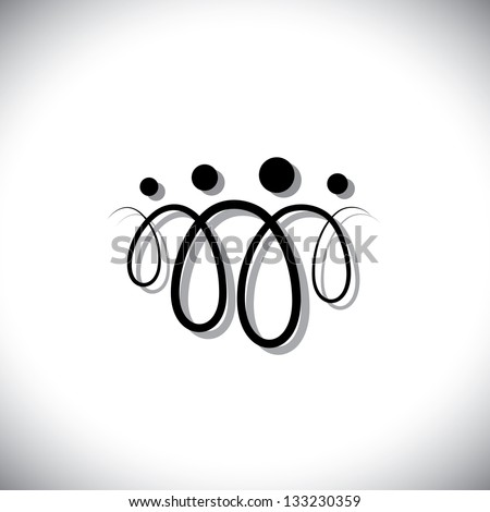 Family of four people abstract symbols(icons) using line loops. The icons are of father, mother, son & daughter in black colored lines with shadow - stock photo