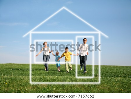 family of four running to dream house