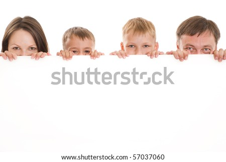 family of four together on a white background