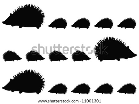 family of hedgehogs pattern - stock photo