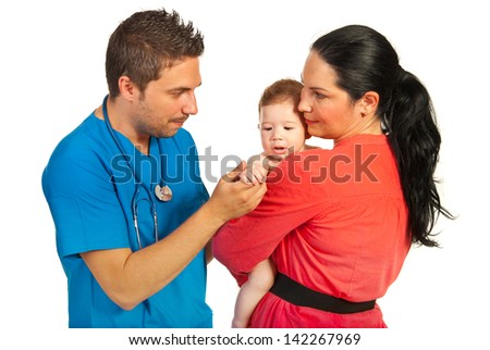Family of mother with little baby visiting doctor isolated on white background